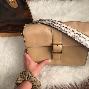 Louise et cie tan/ snake skin bag!